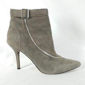 Trouve 9.5M Gray Suede Zippered Heeled Boot